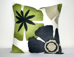 Robert Allen Lime Green and Gray Decorative Pillow Cover 18 inch Modern Floral Accent Pillow Throw Pillow Cushion Cover