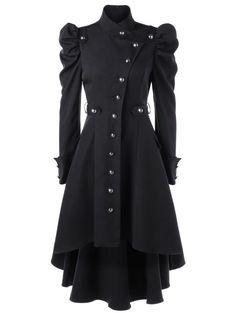 Puff Shoulder Button Up Dip Hem Trench Coat, BLACK, M in Jackets & Coats | DressLily.com