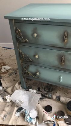 Painted dresser with Dixie Belle. Slick stick a plastic dresser. Refurbished Furniture, Repurposed Furniture, Shabby Chic Furniture, Diy Nautical Furniture, Shabby Chic Dressers, Diy Old Furniture Makeover, Restoring Old Furniture, Dresser Makeovers, Dresser Ideas