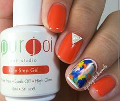 """Check this out Autumn @justagirlandhernails is on a roll, I love how vibrant this looks.  Just so you guys know all of Autumn's nail art is done by free hand.   The base color is """"Orange You Fine"""", by Purjoi Nail Studio one step gel.  I can't stop looking at the accent nail.  ❤❤❤❤❤"""