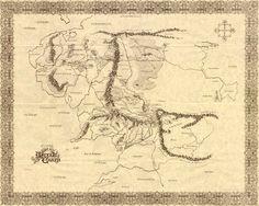 Lo que eh buscado por muchas lunas atras el mapa de Tierra media creado por Tolkien