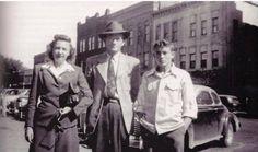 James Dean, his father Winton Dean and his second wife Ethel, downtown Marion Indiana circa 1947.  Photo/Gary & Barbara Wolfe/Facebook.
