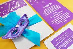 Invitaciones para Fiesta de 15 Años con temática de carnaval