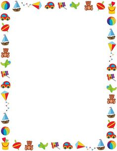 Colorful border on a white background featuring children's toys. Free downloads at http://pageborders.org/download/toy-border/