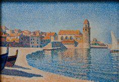 Collioure, the belltower, Opus 164 - Paul Signac - Paul Signac, Art Aquarelle, Pop Art, Georges Seurat, Impressionist Landscape, Art Moderne, French Art, Art Plastique, Artist Art