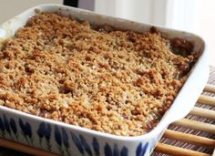 Rhubarb Crisp Recipe with crunchy topping. Rhubarb crisp is a dessert with a rolled oats and butter and cinnamon topping.