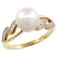 Wavy White Pearl Engagement Ring - Unusual Engagement Rings Review