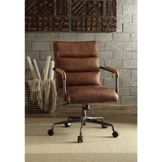 Harith Top Grain Leather Office Chair in Retro Brown