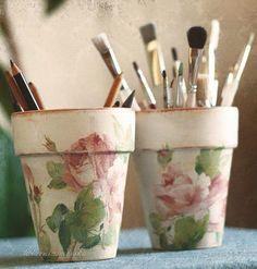 Macetas porta pinceles decoradas con découpage - Artist - Home Decor