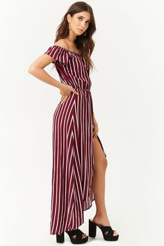 b515100426ca Striped Off-the-Shoulder Maxi Skort Romper