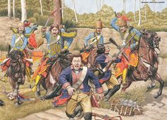 Esterhazy Hussars overrun a Prussian picket from the Braunschweig Infantry during the Seven Years War, by (artist unknown). If you know the artist and can supply a link, please update this pin. Military Units, Military Art, Military History, English Restoration, Friedrich Ii, Germany And Prussia, Frederick The Great, Seven Years' War, History