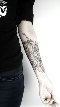 """1337tattoos: """" Acacia and chestnut by Vitaliy Roy @ Daruma Workshop submitted by http://forsnat.tumblr.com """""""
