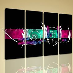 "Large 4 Pcs Modern Abstract Painting Hd Print On Canvas Colorful Wall Art Decor, Large Abstract Wall Art, Living Room, Raven. Large 4 Pcs Modern Abstract Painting Hd Print On Canvas Colorful Wall Art Decor Subject : Abstract Style : Contemporary Panels : 4 Detail Size : 12""x36""x4 Overall Size : 51""x36"" = 130cm x 91cm Medium : Giclee Print On Canvas Condition : Brand New Frames : Gallery wrapped [FEATURES] Lightweight and easy to hang. High revolution giclee artwork/photograph. Edges are..."