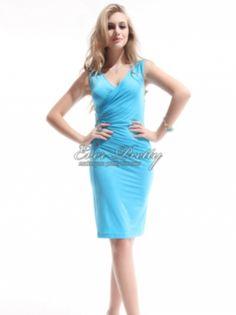 Ever Pretty I Sexy V-neck Blue Ruffles Button BNWT Cocktail Dress $49.99  #bluedress #cocktaildress #babyblue