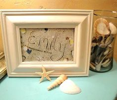 Great gift idea - write name in sand, arrange shells and take a picture.  Great gift item with last name or even an initial made of shells.  Look cool in a beach themed room.