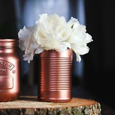 Copper Painted Tin Can Rustic Vintage Wedding Table Decoration Flower Pot