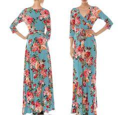 M * BOUTIQUE Teal Blue Rose FLORAL Jersey Stretch Faux Wrap MAXI DRESS Tea Party #Janette #MaxiFauxWrapWeddingGuestPartyDressVintageRosePrintRoseFloralGardenFloralTeaPartyTravelDressMaxiDressWrapDress #PartyFormalCruiseSpecialOccasionTravel