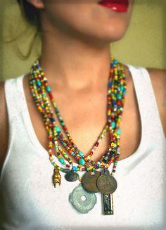 GYPSY SUMMER  ... Amber Waves   ...   Urban Tribal Gypsy Unisex Trade Bead Charm Necklace