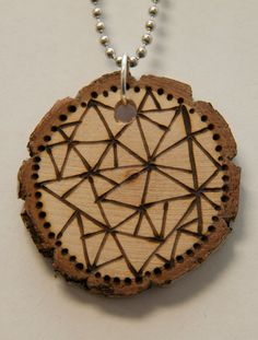 Fractured 2. $18.00, via Etsy.    pyrography, wood burned necklace, handmade