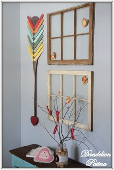 Valentine vignette. Colorful cupid arrow with LOVE branches. http://www.dandelionpatina.com (scheduled via http://www.tailwindapp.com?utm_source=pinterest&utm_medium=twpin&utm_content=post562585&utm_campaign=scheduler_attribution)