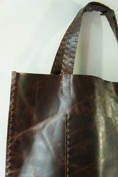 Large  Leather Tote - Distressed  Dark Brown - Super Soft.  via Etsy.