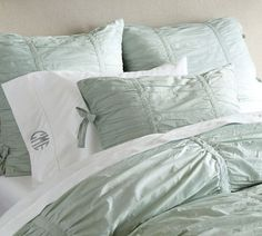 Hadley ruched duvet cover and sham (blue) by Pottery Barn.