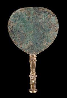 Mirror  Bronze and Gilt Silver, H. 32.9 cm  El-Kurru, Pyramid 15 (Tomb of Shabaka), 722–707 BC (Napatan Period)