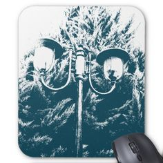 Blue and white cypress and lamp post mouse pad.