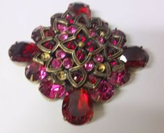 Vintage Signed R J Graziano Gorgeous Large Rasberry Red Rhinestone Pin Brooch | eBay