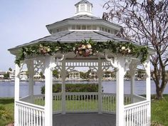 Easter Wedding Gazebo Flowers - on Tampa Bay at the Davis Island Garden Club.  AmandaWeddingCreations