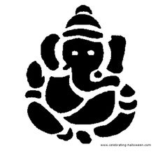 Ganesha is the good luck symbol not just for Hindus, but everyone worldwide. The elephant headed deity of Hindus in Stencil Patterns, Stencil Designs, Halloween Costumes For Kids, Fall Halloween, Halloween Stuff, Halloween Ideas, Wedding Card Format, Coconut Shell Crafts, Ganesha Art