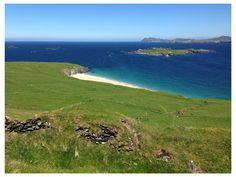Great Blasket Island, looking back toward the island called The Sleeping Giant, and beyond that to the Dingle peninsula