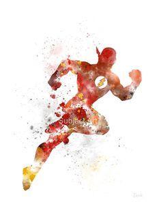 La ilustración arte PRINT inspiradora Flash, superhéroe, Home Decor, arte de la pared, salpicaduras