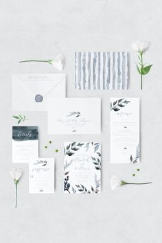 Whimsical dusty blue wedding invitation suite