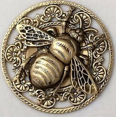 Large Filigree Stamped Brass Vintage Style BUMBLE  BEE Picture Button~1 3/4""