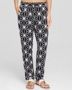 Macbeth Collection Printed Swim Cover Up Pants