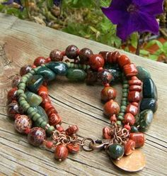 Red Jasper Bracelet Multi Strand Copper Green One of a Kind...great color combo