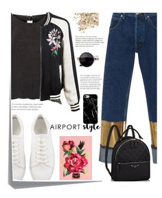"""Airport Style"" by elenaafiya ❤ liked on Polyvore featuring River Island, Loewe, LE3NO, Dolce&Gabbana, Topshop, Recover and Post-It"