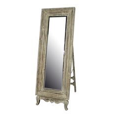 Weathered cream floor mirror.  Product: Mirror    Construction Material: Wood and mirrored glass Colo...