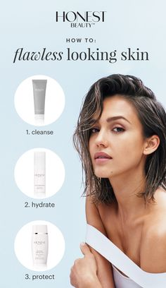 Want flawless looking skin? Our Honest Beauty free trial (just $5.95 shipping) provides you with these 3 essential steps: 1) cleanse 2) hydrate 3) protect
