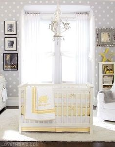 Unisex Baby Room Idea - Grey and Yellow. Who would have thought yellow and grey go soo well?! Great for a boy or a baby girl room. Also the polka dots on the wall are precious.