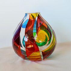 Vaso arcobaleno pittura di vetro di Vitray su Etsy