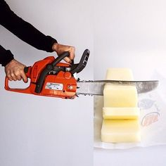 Here are the latest improbable mashups by Stephen McMennamy, who with his ComboPhoto series is having fun combining two pictures. Chainsaw and butter-motorzaag en boter #combophoto
