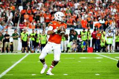 Miami Hurricanes QB, Brad Kaaya, looks downfield