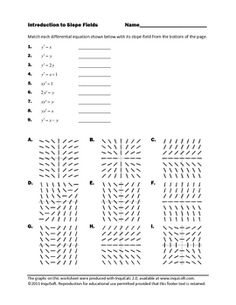 This worksheet asks students to match nine differential equations with their corresponding slope fields. This activity is intended as a practice exercise or formative assessment for use in the early stages of students' work with slope fields. An answer key is included with this worksheet.