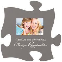 "Puzzle picture frame Inscribed with ""These are the days we will always remember"" Single photo 4""x6"" Photo - Measures 12"" x 12"" square - all puzzle frames easily link together for a unique presentation"