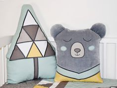 Gray Bear Pillow Woodland Cushion Teddy Plush by Customquiltsbyeva