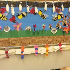 "Our Kinder ""Garden"" Ant Hills Tissue paper Bees Bee Hives Heart Ladybugs Dragonflies  Spider webs Funny flowers"