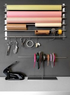 how to organize your holiday gift wrap // how to set up a gift wrapping station - craft room and home office - Hammer Gift Gift Shop Interiors, Flower Shop Interiors, Flower Shop Decor, Flower Shop Design, Flower Shops, Craft Room Storage, Craft Organization, Organizing, Ikea Storage