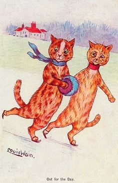 Out for the day  | postcard by Louis Wain